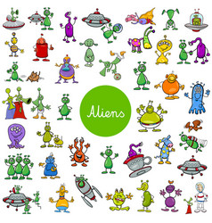 Cartoon alien fantasy characters large set vector