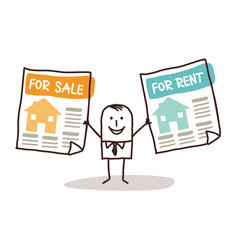 Cartoon real estate agent with houses for sale vector