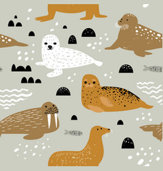 Childish seamless pattern with seal and walrus vector