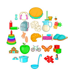 childminder icons set cartoon style vector image