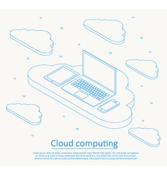 cloud computing isometric thin line design vector image