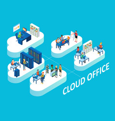 Cloud office concept isometric vector