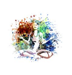 Color a meditating woman vector