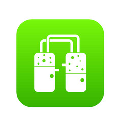 Containers connected with tubes icon digital green vector