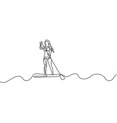 continuous line woman standing up on paddle board vector image