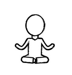 Contour mental health pictogram meditation vector