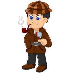 Cute detective cartoon posing with magnifying glas vector