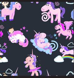 cute unicorn seamless pattern magic pegasus vector image