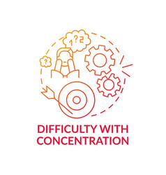 Difficulty with concentration concept icon vector