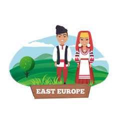 East europe man and women on vector