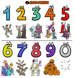 educational cartoon numbers set with halloween vector image