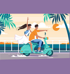Flat man and woman couple riding on motorbike near vector