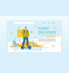 food delivery service on hoverboard landing page vector image