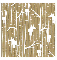 Fox in winter forest pattern - laser cutting vector image