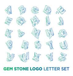 Gemstone letter a-z logo design icon template vector
