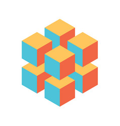 geometric cube of 8 smaller isometric cubes vector image