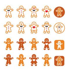 Gingerbread man christmas icons set - xmas baking vector
