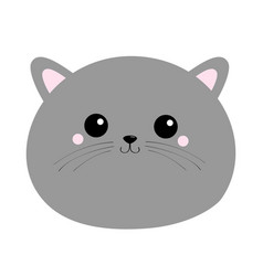Gray cat round face head silhouette icon kawaii vector