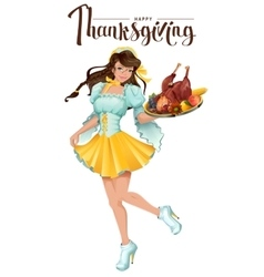Happy Thanksgiving Day Cute girl waiter brings a vector