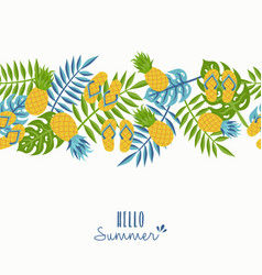 hello summer tropical pineapple pattern design vector image