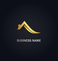 Home roof realty abstract gold logo vector