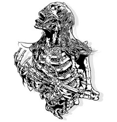 horror skeleton drawing vector image