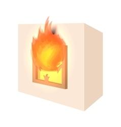 House fire cartoon icon vector image