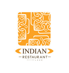Indian restaurant logo design authentic vector