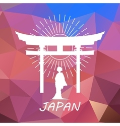 Japan label or logo over geometric background vector