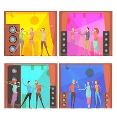 Karaoke party compositions set vector