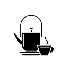 kettle and tea mug black icon sign on vector image
