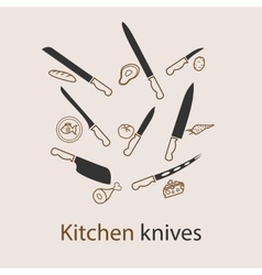 Kitchen knives set vector image