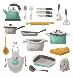 Kitchen stuff icons set vector