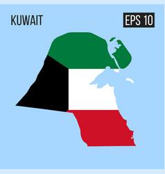kuwait map border with flag eps10 vector image