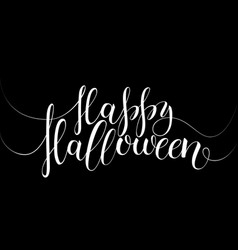 lettering happy halloween in black and white vector image