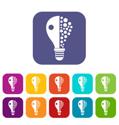 light bulb icons set flat vector image vector image