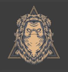 Lion bandana triangle badge vector