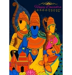 Lord Ram Sita Laxmana Hanuman and Ravana in vector image