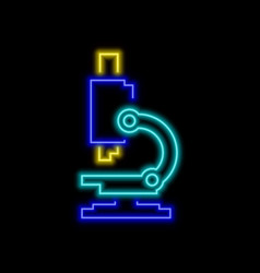 Microscope neon sign bright glowing symbol on a vector