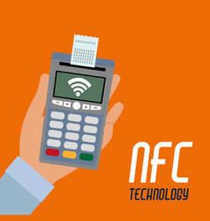 Nfc dataphone with receipt and wifi connection vector