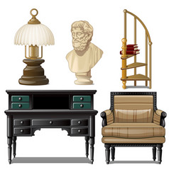 objects and furniture vintage interior isolated on vector image
