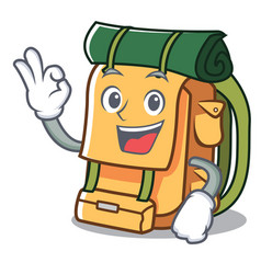 okay backpack character cartoon style vector image