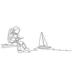 One continuous line drawing astronaut playing vector