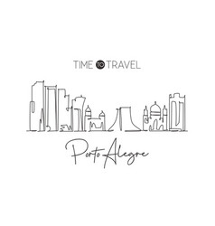 One continuous line drawing porto alegre city vector