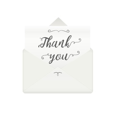 Opened envelope with message thank you vector image