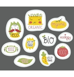 Organic eco and bio food labels set vector image