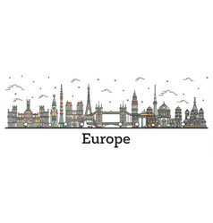 outline color famous landmarks in europe vector image