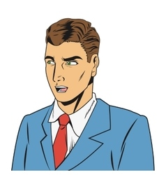 Outraged man with jacket and tie vector