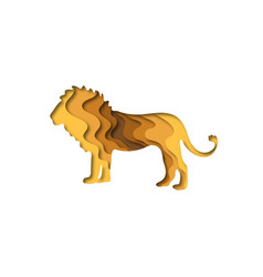 Paper cut lion safari animals shape 3d origami vector