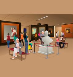 People inside a museum of art vector